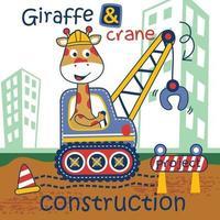 giraffe and crane funny cartoon vector