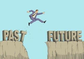 ilustración de dibujos animados de un hombre salta del pasado al futuro vector