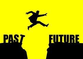 Ilustración de silueta de un hombre salta del pasado al futuro vector