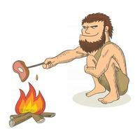 Cartoon illustration of a caveman cooking meat on fire vector