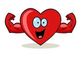 personaje de dibujos animados de un corazón con manos musculosas vector