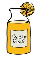 Doodle of a bottle of orange juice vector