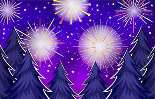 Colorful Firework View from the Forest vector