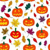 Seamless Halloween pumpkin pattern with fallen leaves on a white background. Design for Halloween and thanksgiving. Hand-drawn vector illustration. Vector illustration