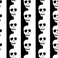 patrón de cráneo transparente sobre un fondo rayado blanco y negro. patrón de rayas con calaveras diseño para halloween, día de los muertos. ilustración vectorial de stock vector