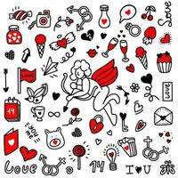 A set of doodles for valentines day.Vector illustration in doodle style. Design for Valentines Day, Wedding, Greeting Cards vector