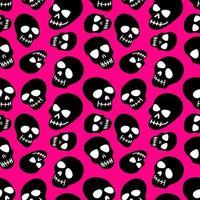el patrón del cráneo. calaveras negras sobre una ilustración de background.vector rosa de una calavera. diseño brillante y de moda para halloween, día de los muertos, tatuajes, estampados, po vector