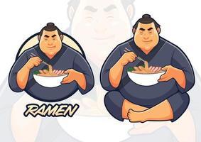 Sumo eating Ramen Illustration for Ramen Restaurant vector