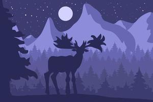 Elk in the night coniferous forest near the mountains vector
