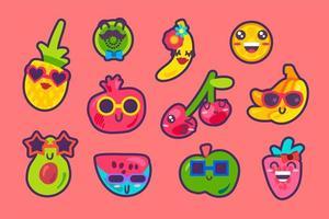 Summer fruits emoji emotion collection set vector