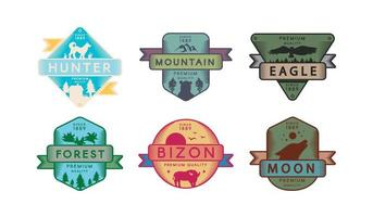 Collection Badges Animals and Nature Set vector