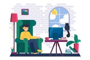 Man watching film on tv in living room vector