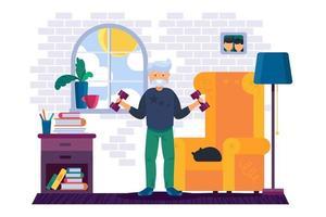 entrenamiento de abuelo con pesas en casa vector