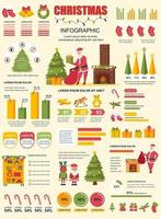 Christmas banner with infographic elements vector