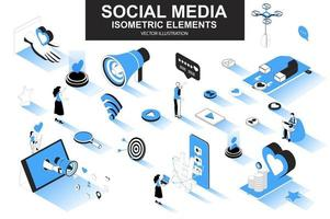 Social media bundle of isometric elements vector