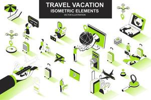 Travel vacation bundle of isometric elements vector