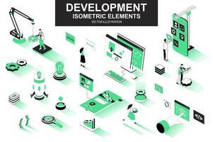 Development company bundle of isometric elements vector