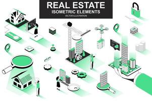 Real estate bundle of isometric elements vector