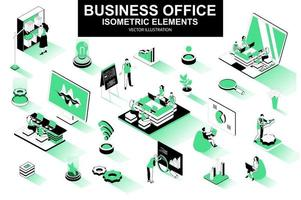Business office bundle of isometric elements vector