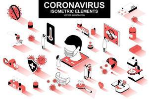 Coronavirus bundle of isometric elements vector