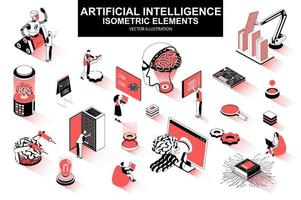 Artificial intelligence bundle of isometric elements vector