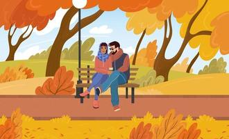 Young couple in love guy and girl sit on a bench in an autumn park. Date outdoors among the trees in the fall. Vector cartoon illustration