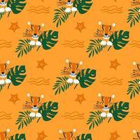 verano de patrones sin fisuras con lindo tigre en hojas verdes en el fondo de una playa de arena con estrellas de mar. ilustración vectorial de dibujos animados para niños vector