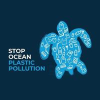 Stop ocean plastic pollution. Turtle composed of white plastic waste bag, bottle on blue background. Ecological campaign. vector