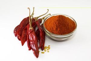 Dried red chilli and powder photo