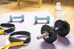 Dumbbells in home training exercise photo