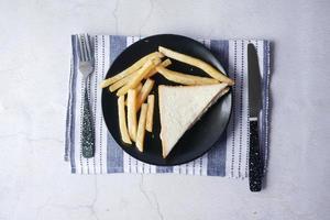 Rebanada de sándwich de pollo y patatas fritas en la placa, vista superior foto