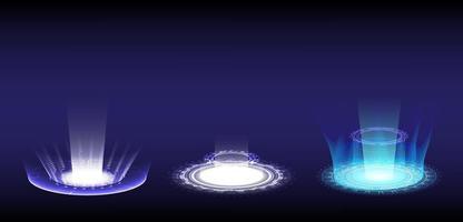 tecnología abstracta. portal y ciencia del holograma futurista. colección de ciencia ficción digital de alta tecnología en hud brillante. puerta mágica en el juego de fantasía. podio de teletransporte circular. interfaz gráfica de usuario, ui proyector de realidad virtual vector