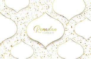 Ramadan kareem background with white gold abstract paper cut shape and glitter vector
