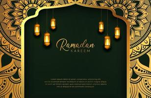 Ramadan Kareem background with gold and green color luxury style Vector illustration for Islamic holy month celebrations decorated with lantern and mandala arabesque