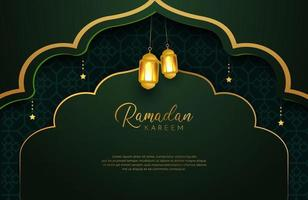 Ramadan Kareem background with gold and green color luxury style Vector illustration for Islamic holy month celebrations decorated with stars and lantern