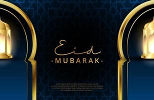 Eid mubarak background in luxury style Vector illustration of dark green islamic design with gold lantern and crescent moon for Islamic holy month celebrations