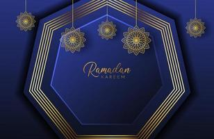 Ramadan kareem background with gold mandala and hexagon shape on navy Vector illustration for Islamic holy month celebrations