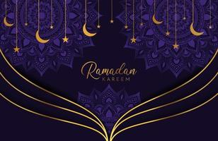 Ramadan kareem background with gold moon and stars on purple Vector illustration for Islamic holy month celebrations