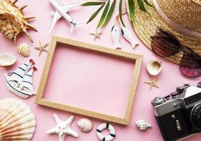Overhead view of traveler's accessories photo