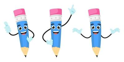 Mascot colorful pencil characters standing and doing different actions with cheerful expressions vector