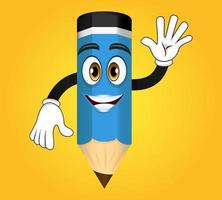 Mascot colorful pencil character standing and waving vector