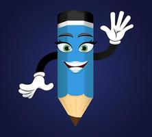 Mascot colorful pencil character standing and waving isolated vector