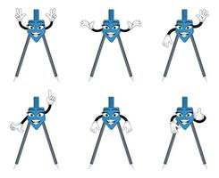 Mascot colorful geometric compass character standing and doing different actions vector