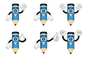 Mascot colorful pencil characters standing and doing different actions with cheerful expression vector