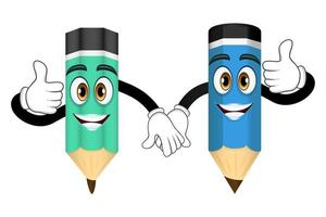 Mascot pencil characters standing and holding hands together isolated vector