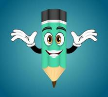 Mascot colorful pencil character standing and waving posing with cheerful expression vector