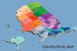 United States of America political isometric map divide vector