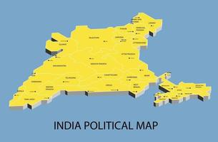 India political isometric map divide by state vector