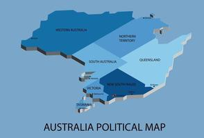 Australia political isometric map divide by state colorful outline simplicity style. vector