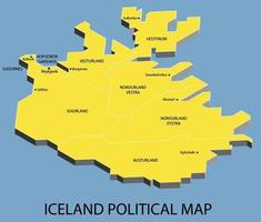 Iceland political isometric map divide by state vector